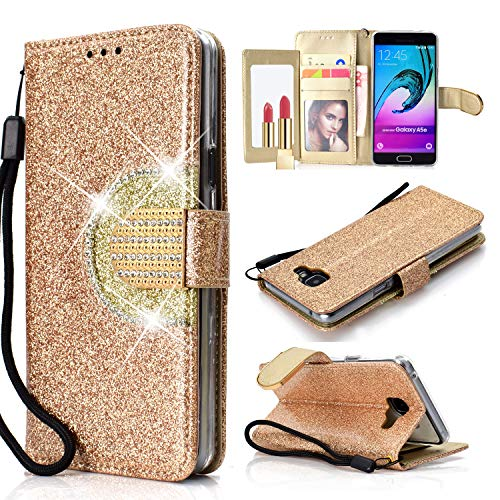 Yobby Glitzer Strass Leder Brieftasche Hülle für Samsung Galaxy A5 2017, Samsung Galaxy A520 Gold Mode Handyhülle mit Spiegel Flip Magnetisch Stand Schutzhülle mit Karte Schlüssel und Handschlaufe