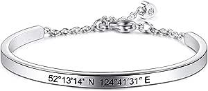 MeMeDIY Braccialetto Personalizzato Incisione Nome Identificativo ID Personalizzato per Uomo Donna Ragazze Resistente all'Acqua Bracciale Regolabile in Acciaio Inossidabile