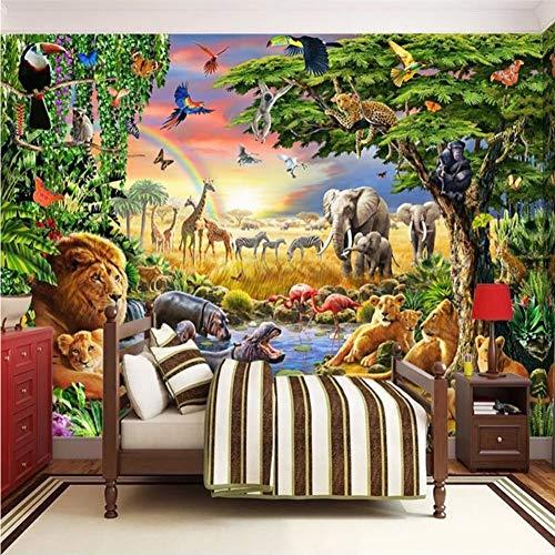 Finloveg Benutzerdefinierte Fototapete Vliestapete 3D Cartoon Grünland Tier Lion Zebra Kinderzimmer Schlafzimmer Wohnkultur Wandmalerei-200X140Cm -