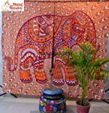 NANDNANDINI TEXTILE - Indischer Elefant Hippie Blackout Vorhänge, Verdunkelung, Pilz, Themal isoliert, Tülle / Ösen Top, Kindergarten / Wohnzimmer Vorhänge jedes Panel