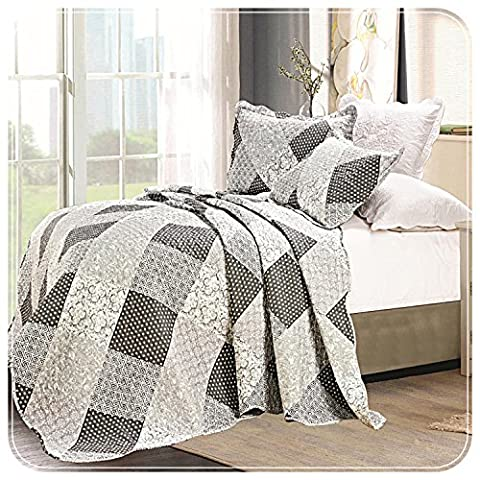 Luxury Floral 3 Piece Quilted Vintage Patchwork Bedspread, Reversible Embroidered Comforter Set, Bed Throw With Pillow Cases (Single,