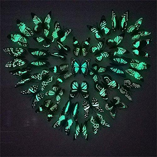 YCRD Simulation Leucht Schmetterling Pvc Kunststoff Schmetterling Mehrzweck Hause Kinder Wohnzimmer Dekoration 8 Cm * 100 Stücke,Magnet