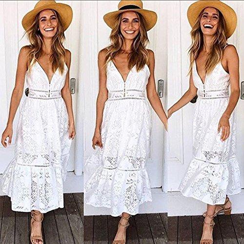 Angashion Damen Spitze V Ausschnitt Schleuder Ärmellos Strandkleid Weiß