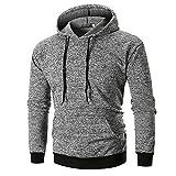 ASHOP Pullover Herren Mode Beiläufige Einfarbig Hoodie Longsleeve Atmungsaktiv Sweatshirt Freizeit Pulli (Grau,M)