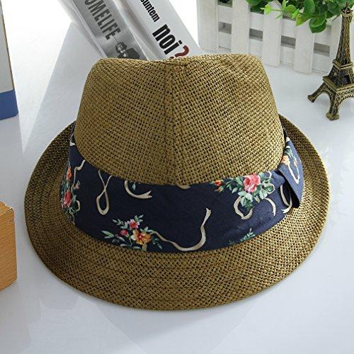La Vogue Chapeau Panama Trilby Fedora Ruban Imprimé Été Homme Classique Vert