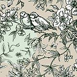 Rico Design Baumwoll-Stoff Vögel Grau Mint 140 cm breit