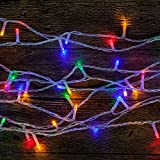 WISD 50/100/200/300/400/500 LED Battery Operated String Fairy Lights on Clean Cable with ON/OFF/Flash Functions , Ideal for Christmas Xmas Tree Wedding Party (300 LED, Multicolour)