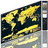 Berry King Travelgoals Weltkarte Landkarte Worldmap freirubbeln, kratzen Schwarz/Gold inkl. Kartographie Equipment 42 x 29 cm