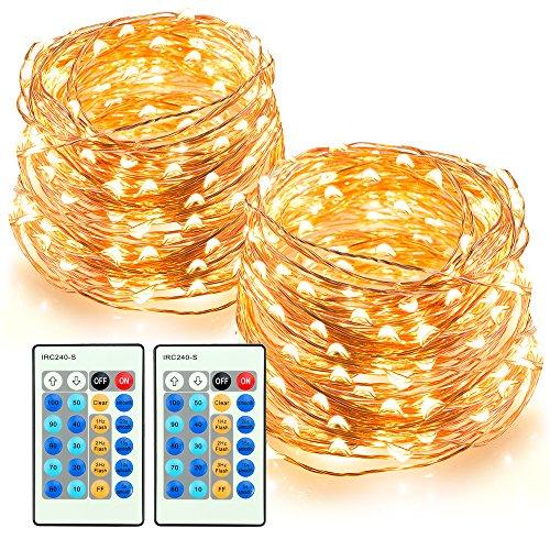 TaoTronics Lichterkette 200er LED 2 Stück warmweiß 20m dimmbare Kupferdraht wasserdicht Sternenlicht Weihnachtsbeleuchtung Party Hochzeit 3 Modi 10 Helligkeit