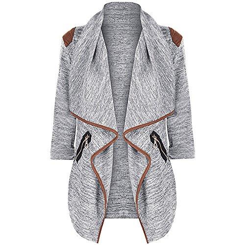 FIRSS Frauen Taschen Wintermantel | Zip Outwear | Revers Trenchcoat | Unregelmäßige Dünner Mantel | Modisch Elegante Mantel Langarmshirt Cropped Damen Trench Coat