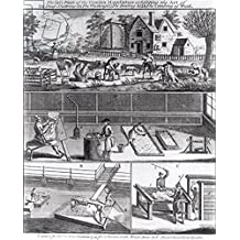 "Alu-Dibond-Bild 90 x 110 cm: ""The First Plate of the Woollen Manufacture Exhibiting the Art of (A) Sheep Shearing (B) The Washing (C) The Beating and (D) The Combing of Wool, engraved for the Universal Magazine, 1749 (engraving) (b&w photo)"", Bild auf Alu-Dibond"