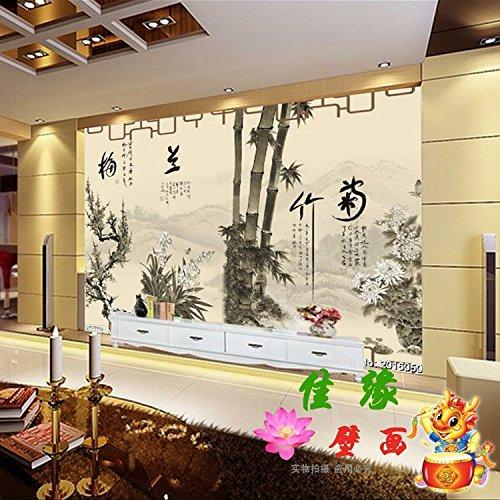 Tantoto 3D Wallpaper Ein Großes Wandbild Fernseher Sofa Hintergrund Wallpaper Wallpaper Wände Studie Chinesische Malerei Chinesische Tinte Gemälde Bambus Daisy (Strukturierte Bambus)