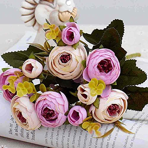 Künstliche Blumen, aus Seide mit Kunststoff, Hochzeitssträuße, Dekoration für Zuhause, Kamelien, 5 Zweige, 10Blütenköpfe, 2Sträuße, plastik, Violett/Weiß, 30cm H*10cm W