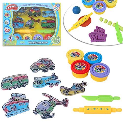 LISOPO Knet mit Knetwerkzeug Für Kinder Lernspielzeug, Verkehr Knetspaß als Geschenk, Intelligente Knete spielzeug