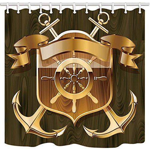 nyngei Navigation Duschvorhang Golden Boot Anker Ruder Holz Shield Marineblau Polyester-Mark Schimmelresistent-Badezimmer Dusche Vorhang Set mit Haken 180x 180cm Badezimmer Zubehör (Dusche Vorhang Badezimmer-set)