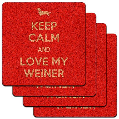 Keep Calm and Love My Weiner Dackel Low Profile Cork Untersetzer Set (Weiner Dackel)