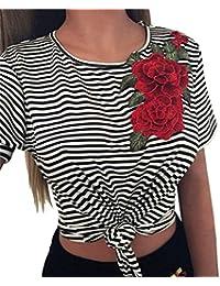 LUCKDE Damen Sommer Kurzarm Streifen T-Shirt❤️Gratis Lieferung❤️Frau Mode  Sexy Nackten 6a7f1d14b2