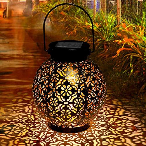Laternen für Draußen, Tencoz Garten Solarleuchten für Dekorative Metallhängende Atmosphäre LED Garten Hängende mit Laterne Wasserdicht IP44 für Rasen/Hof/Gehweg/Weihnachten