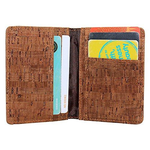 boshiho Kork Kreditkarte Organizer Wallet Compact Bifold Business Card Case Einzigartige Vegan Geschenk braun (Visitenkartenetui Vegan)