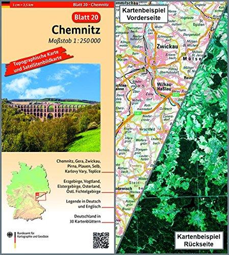 Chemnitz: Umgebungskarte mit Satellitenbild 1:250.000 (TK250 / Topographische und Satellitenbildkarte)