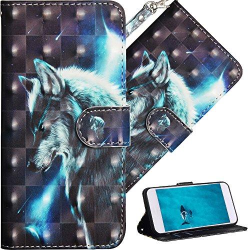 COTDINFOR Nokia 7 Plus Hülle für Geschenk Lederhülle 3D-Effekt Painted Kartenfächer Schutzhülle Protective Handy Tasche Schale Standfunktion Etui für Nokia 7 Plus Star Wlof YX.