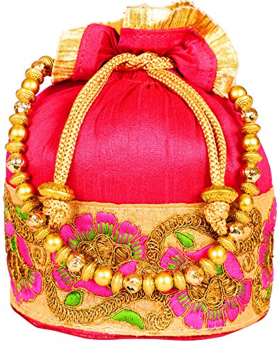 Bombay Haat Ethnic Rajasthani Potli Bag / Bridal Clutch/ Bridal Purse for Party / Wedding / Wedding Gift (Majenta)  available at amazon for Rs.449