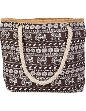 styleBREAKER Strandtasche mit Ethno Elefanten Muster und Reißverschluss, Schultertasche, Shopper, Damen 02012063