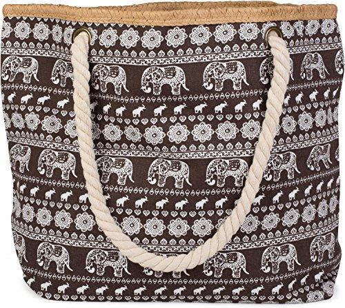styleBREAKER Strandtasche mit Ethno Elefanten Muster und Reißverschluss, Schultertasche, Shopper, Damen 02012063, Braun, Einheitsgröße