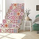 Walplus Wandaufkleber ablösbar selbstklebend Wandkunst Aufkleber Vinyl Wohndeko DIY Wohnzimmer Schlafzimmer Küche Dekor Tapete Geschenk Marokkanische rosarot Mosaik Kachel - 15 cm x 15 - 24 stk.