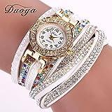 Omiky Mode 2017 Duoya Luxus Marken Designer Damenuhr Damen Perle Skala Armband Quarz Armbanduhr Kristall Diamant Uhr Frauen Kleid Uhr (Weiß)
