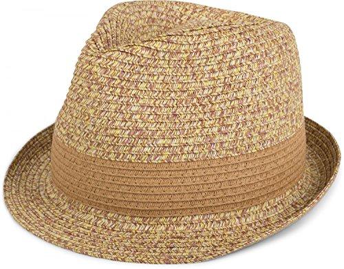 styleBREAKER klassischer Trilby Hut in Melange Optik mit Krempe, Papierhut, Strohhut, Unisex 04025018, Farbe:Natur;Größe:S / M = 56 cm - Klassische Für Hüte Frauen