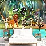 Wandgemälde 3D Fototapete Benutzerdefinierte Cartoon Wald Niedlichen Tier Wandbild Kinderzimmer Wohnzimmer Dekoration Wasserdichte Wandpapierrolle,250Cm(H)×360Cm(W)
