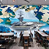 Poowef 3d Wallpaper 3D camouflage sfondo militare ristoranti portaerei fighter group bar KTV pitture murali tema navi da guerra