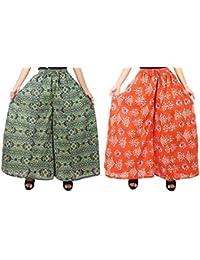 Fashion Store Women's Cotton Stylish Printed Full Flair Multi-Colored Plazo (Free Size, Set Of 2) - B0774LTLTV