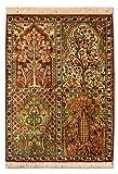 Morgenland Seidenteppich Kaschmir Reine Seide 91 x 65 cm Handgeknüpft