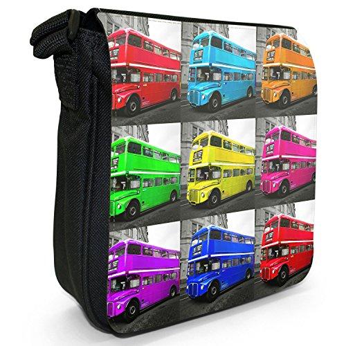 London Bus-Borsa a spalla piccola di tela, colore: nero, taglia: S Pop Art London Bus