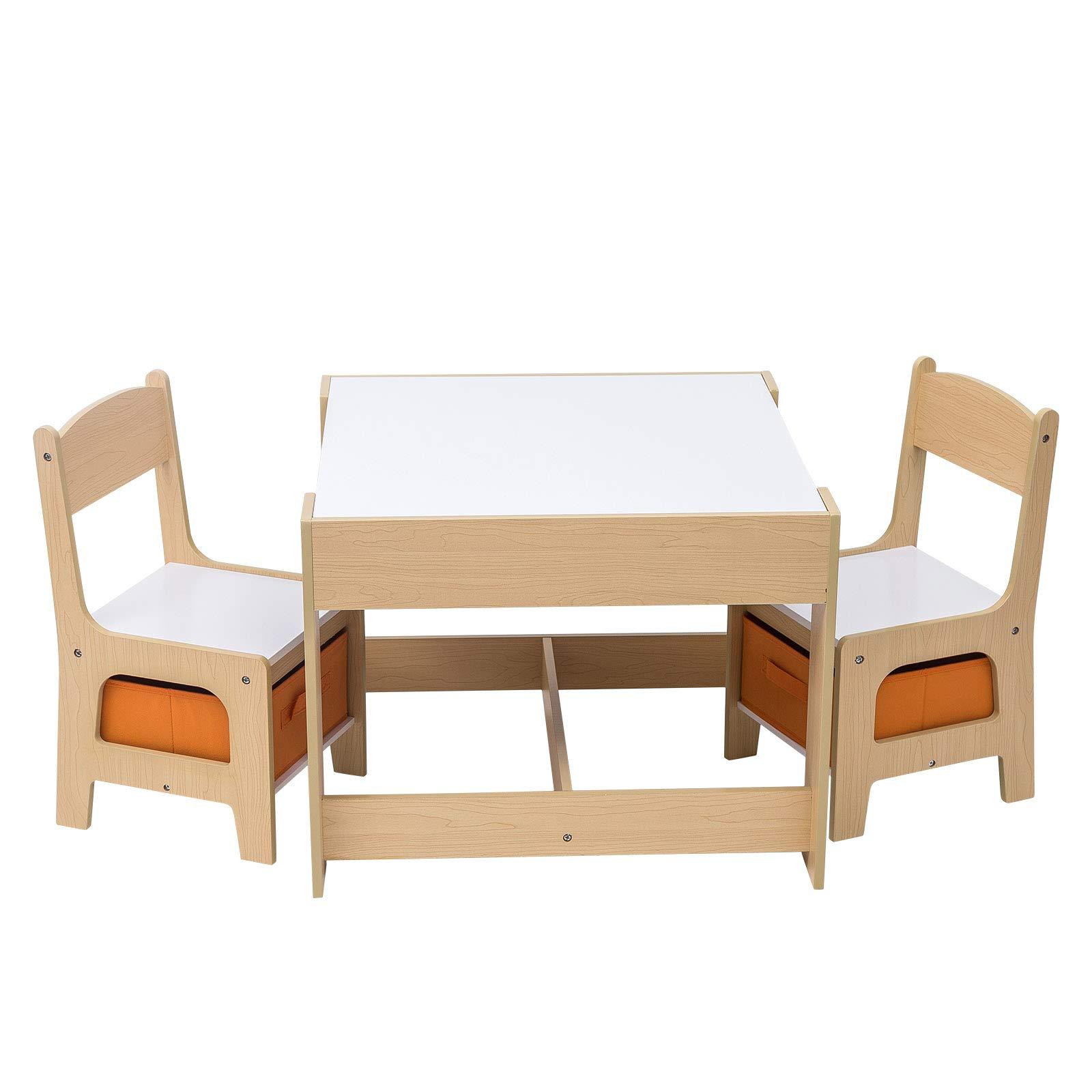 Tavoli E Sedie In Legno.Woltu Kid001 Set Mobili Con Lavagna Contenitore Tavolo E Sedie Per Bambini Gioco Soggiorno Tavolino Con 2 Sgabelli In Legno Giochi Legno