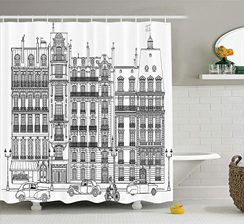Paris City Decor Collection, Facades in Paris Cars Bicycle History Travel Monumental Destinations Image, Polyester Fabric Bathroom Shower Curtain Set with Hooks, Black and White,66x72 inches