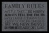 TÜRMATTE Schmutzmatte FAMILY RULES Familie Fußmatte Einzug Spruch Englisch Dunkelgrau
