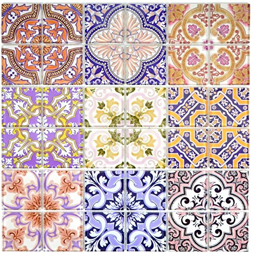 Retro Vintage Mosaik Fliese Transluzent mehrfarben bunt Glasmosaik Crystal SPAIN für WAND BAD WC DUSCHE KÜCHE FLIESENSPIEGEL THEKENVERKLEIDUNG BADEWANNENVERKLEIDUNG Mosaikmatte Mosaikplatte (Bunte Bodenfliesen)