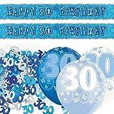 Deko-Set zum 30. Geburtstag- Blau/Silber/Glanz