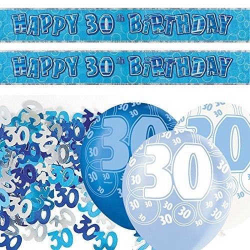 Blue Glitz 30th Birthday Banner Party Decoration Pack Kit Set