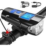 CHENC Faro per Bicicletta LED Super Bright 350 Lumen Faro per Bicicletta Ricaricabile USB Multifunzione 4 modalit/à Luce E 6 modalit/à Audio con Tachimetro,Blu
