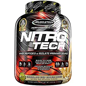 Muscletech Performance Series Nitrotech Whey Protein Peptides & Isolate (30g Protein, 3g Creatine, 6.9 BCAAs, 5g Glutamine & Precursor, Post-Workout) - 4lbs (1.81kg) (Chocolate Chip Cookie Dough)