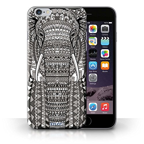Coque en plastique pour iPhone 6+/Plus 5.5 Collection Motif Animaux Aztec - Loup-Cramoisi éléphant-Mono