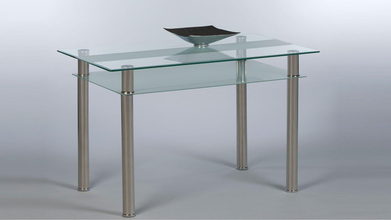 Möbel Akut Esstisch Jackie Glas Küchentisch Ablage Glas sandgestrahlt Füße verchromt 1