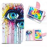 Galaxy S5 Hülle, MYTH -Persönlichkeit Augen PU Leder Flip Case Hülle, Magnetisch Portemonnaie Kartenfächern Handy Hülle Schutzhülle für Samsung Galaxy S5 SM-G900F