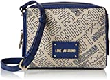 Love Moschino Borsa Canvas Naturale+nappa Pu Blu - Borse Baguette Donna, (Natural Canvas-blue), 7x16x20 cm (B x H T)