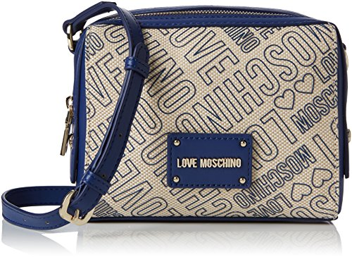 Love Moschino Damen Borsa Canvas Naturale+Nappa Pu Blu Baguette, blau (Natural Canvas-Blue), 7 x 16 x 20 cm