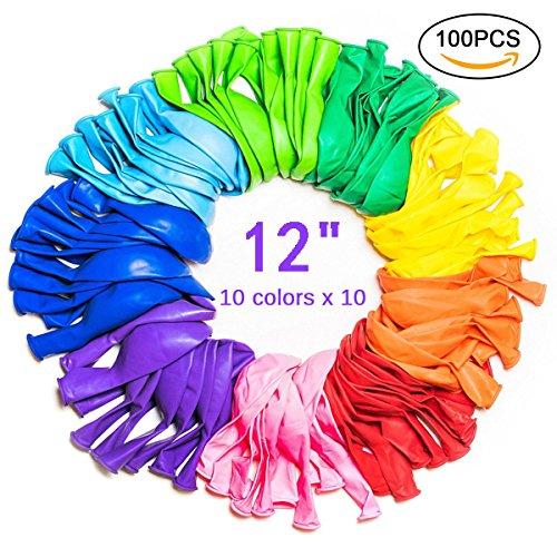 100 Pcs 12 Pulgadas Globos de Fiesta de Colores Diversos para Bodas,Cumpleaños,Fiesta,Halloween, Navidad (M)